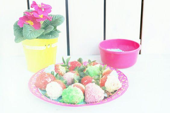 Erdbeeren mit Glitzerzucker